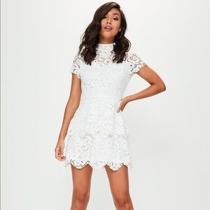 Missguided White Laced Mockneck Dress NWT SZ 0
